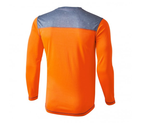 Camiseta técnica manga larga Aquarius Winter, color naranja flúor y gris