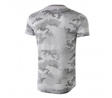 Camiseta para correr, estampado camuflaje color blanco y negro: MIMET White Hexagon