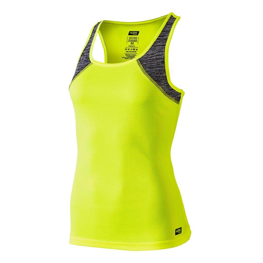 Camiseta running color amarillo flúor y gris, tejido técnico liso y jaspe. Trasera