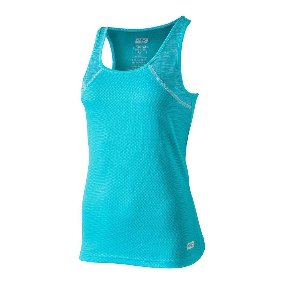 Camiseta de tirantes tejido técnico jaspe y liso, color azul, Xion2 Summer blue river. Delantero