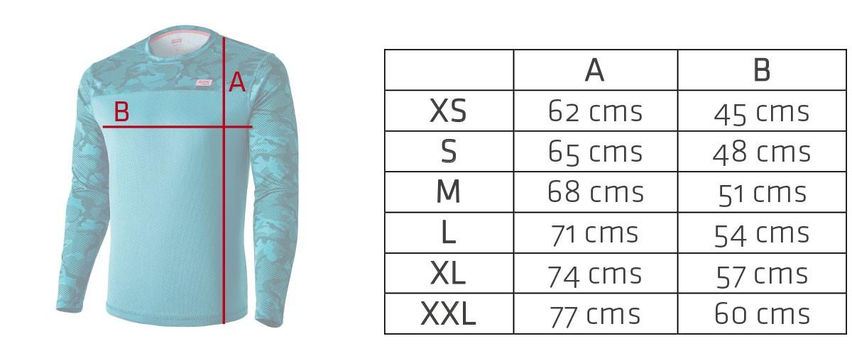 medidas en plano de la camiseta running Mimet Winter